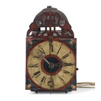 533. a south german polychrome painted iron repeating wall clock, circa 1720