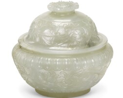 112. a pale celadon jadecenser and cover qing dynasty, qianlong period