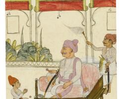 50. maharaja fateh singh seated with his son kunwar raj singh, attributable to swarup ram, sitamau, circa 1800