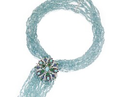 29. two-color gold, aquamarine, diamond and gem-set necklace-brooch combination