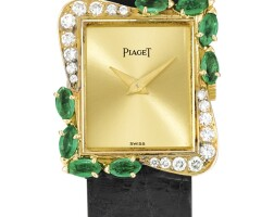 29. piaget   reference 41548 a yellow gold, diamond and emerald-set wristwatch, made in 1991
