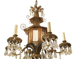 5. a chinoiserie cut glass and mirror-mounted tôle-peinte six-light chandelier 20th century