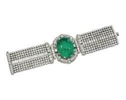 320. 祖母綠配鑽石手鏈