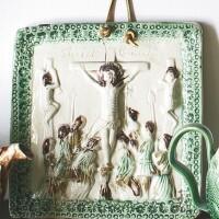 31. rare staffordshire lead-glazed cream-colored earthenware crucifixion plaque circa 1760-65