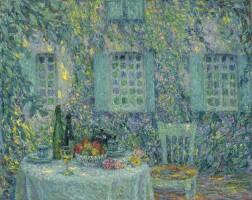 158. henri le sidaner | la table, soleil dans les feuilles, gerberoy