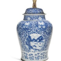 339. a large blue and white 'landscape' jar and cover qing dynasty, kangxi period