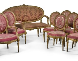 47. a suite of northern european louis xvi style carved giltwood seat furniture, mid-19th century