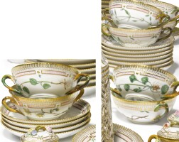 25. a set of twelve royal copenhagen 'flora danica' soup cups and saucers modern