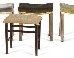 196. three george vi limed oak velvet covered coronation stools  