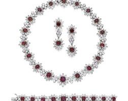 253. 鉑金鑲紅寶石配鑽石首飾套裝
