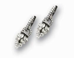 1007. pair of diamond pendent earrings