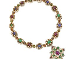 257. 18k黃金鑲鑽石及寶石項鏈/手鏈組合及吊墜別針一枚, 梵克雅寶(van cleef & arpels)