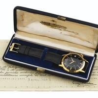 201. 積家(jaeger-lecoultre)   e855型號「memovox」黃金腕錶備鬧鐘及日期顯示,年份約1960。