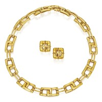 508. gold 'biscayne' necklace and pair of earclips, tiffany & co.