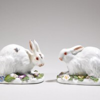 28. a pair of meissen figures of crouching hares circa 1746