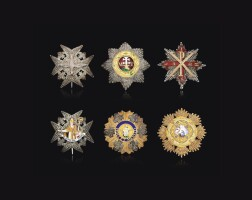 14. france, a custom-made cased set of six reduced-size breast stars
