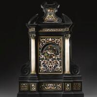 9. an italian gilt-bronze mounted pietre dure and ebony clock, galleria dei lavori, florence early 18th century