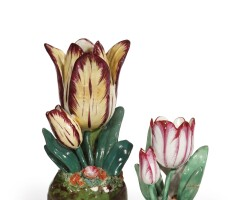 1225R. an assembled pair of english porcelain tulip vases second half, 19th century