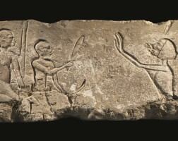 4. an egyptian limestone relief fragment, amarna, 18th dynasty, later in the reign of akhenaten, circa 1345-1336 b.c.