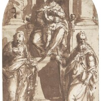 2. attributed to pietro buonaccorsi, called perino del vaga | madonnaenthroned with the christ child, st. peter and st. paul