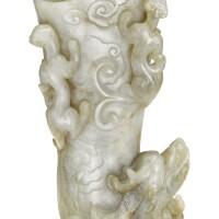 109. a pale celadon jade'dragon'rhyton 17th century