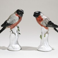 35. a pair of meissen figures of bullfinches 1747-55