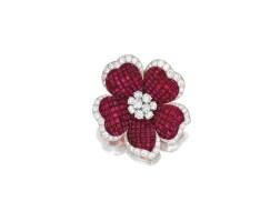 451. ruby and diamond brooch, van cleef & arpels