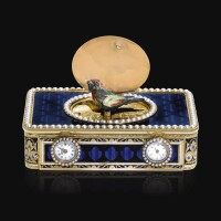 6. a gold, enamel and pearl singing bird box with watch and musical movements, the bird movement frères rochat, the case rémond, lamy, mercier & co., geneva, circa 1813 | a gold, enamel and pearl singing bird box with watch and musical movements, the bird movement frères rochat, the case rémond, lamy, mercier & co., geneva, circa 1813
