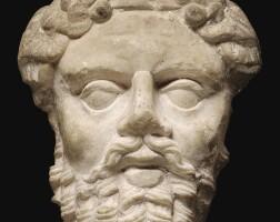 27. a roman marble mask of silenus, circa 2nd century a.d.   a roman marble mask of silenus