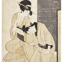 34. attributed to kitagawa utamaro i (1750s–1806)a courtesan supporting asorrowful young man in front of a screen edo period, late 18th century |