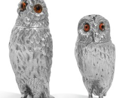 10. two victorian novelty silver owl peppers, one, creswick & co, sheffield, 1852, the other, richards & brown, london, 1870