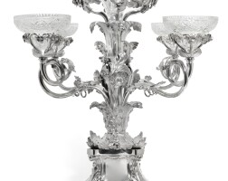 445. a william iv silver four branch epergne, robinson, edkins & aston for the soho plate co., birmingham, 1837