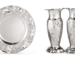 32. a pair of american silver bud vases and small plate, martelé, gorham mfg. co., providence, ri, 1913 and 1905  