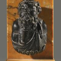 8. a roman bronze steelyard weight in the form of a bust of silenus, circa 2nd century a.d. | a roman bronze steelyard weight in the form of a bust of silenus