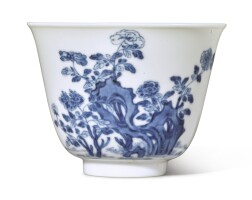 109. a fineblue and white 'peony' 'month' cup kangxi mark and period |
