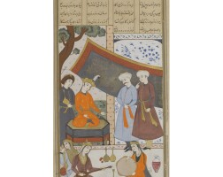 71. an illustrated and illuminated leaf from a manuscript of firdausi's shahnama: khosrow parviz on the throne on the joyous occasion of new year, attributable to mu'in musavvir, persia, safavid, second half 17th century, 17th century