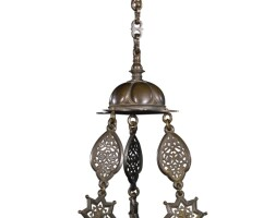 112. an enamelled glass hanging mosque lamp and chain, europe 19th/20th century