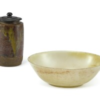 3. 清 青白玉光素盌 連 褐彩茶罐 |