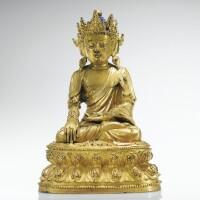 7. statuette de bouddha couronné en bronze doré dynastie ming, xve siècle