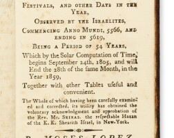 4. a lunar calendar, of the festivals, and other days in the year, observed by the israelites, moses lopez, newport, rhode island: office of the newport mercury, 1806
