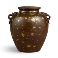 3656. 清十七至十八世紀 銅灑金舖首銜環耳瓿式爐 |