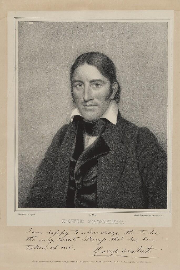 A lithograph of Davy Crockett.