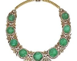 252. 黃金鑲祖母綠配鑽石項鏈