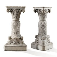 8. a pair of neoclassical carved white marble stands, italy or england, first half 19th century