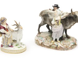 408. two meissen groups with animals second half 19th century