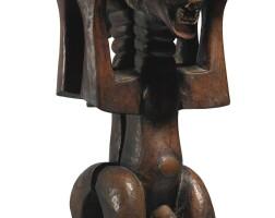 142. songye-luba male and female caryatid stool, democratic republic of the congo