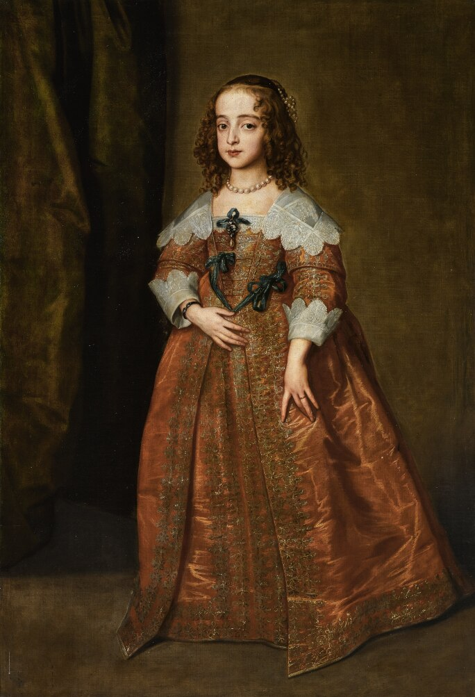 Sir Anthony Van Dyck's Portrait of Mary, Princess Royal and Princess of Orange. Painted in 1641. Oil on canvas.