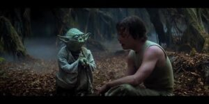 "Empire Strikes Back Yoda training Luke part 3 ""Try not. Do. Or do not. There is no try."""
