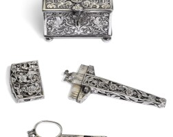 305. a silver weddingbox and silver sewing etui, unmarked, probably dutch, first half of the 17th century |