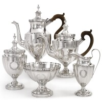4010. a rare american silver four-piece galleried tea and coffee set, robert swan, philadelphia, circa 1795